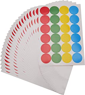 Fasmov 4800 Pack 4 Colors Round Coding Labels Circle Dot Stickers Removable Print or Write Color Coding Labels, 0.75 Inches