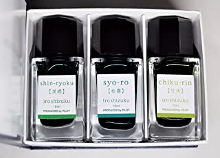 Pilot Iroshizuku Mini Fountain-Pen Greenish Color Ink ( Shin-Ryoku, Syo-Ro, Chiku-Rin ) 15ml 3 Bottles Set