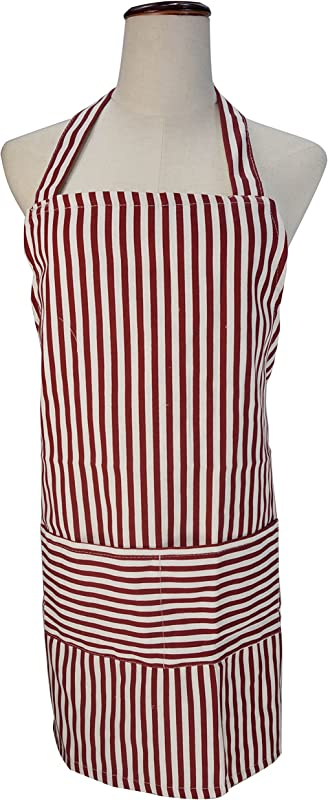 LilMents Pinstriped Canvas Apron Kitchen Chef Baking Cooking