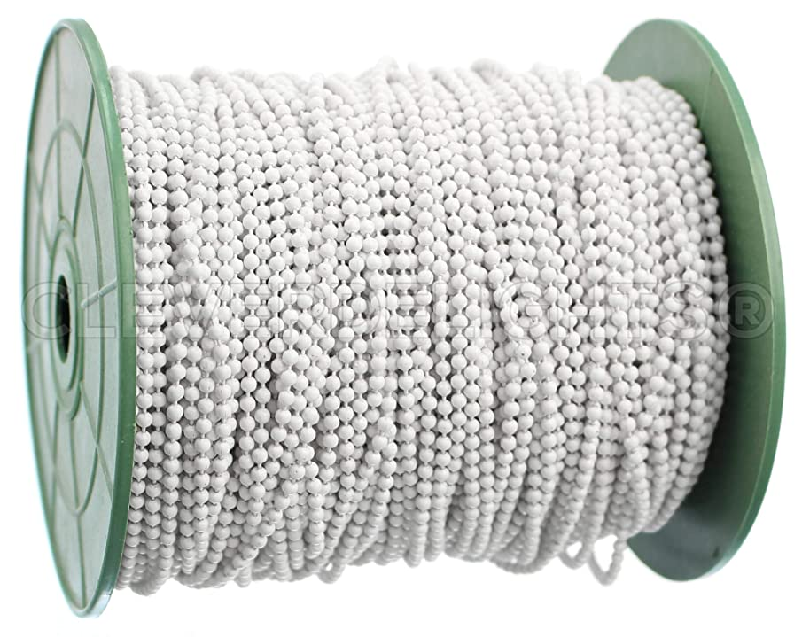 CleverDelights Ball Chain Spool - 30 Feet - White - 2.0mm Ball - Bulk Roll