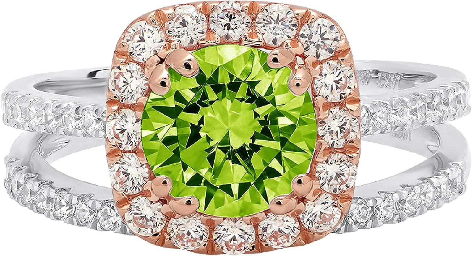 Clara Pucci 2.25ct Round Cut Halo Pave Solitaire Halo Accent Genuine Flawless Natural Green Peridot Engagement Promise Statement Anniversary Bridal Wedding Ring Band set Solid 18K White Rose Gold
