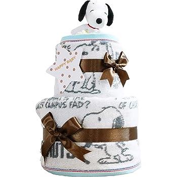 おむつケーキ研究所 スヌーピー(snoopy) 出産祝い 2段 おむつケーキ 今治タオル パンパース テープタイプ S imabari towel ぬいぐるみ 女の子 男の子 男女兼用 ピーナッツ PEANUTS 白