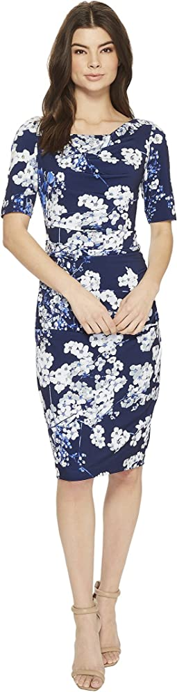 Watercolor Blossoms Printed Sheath Dress