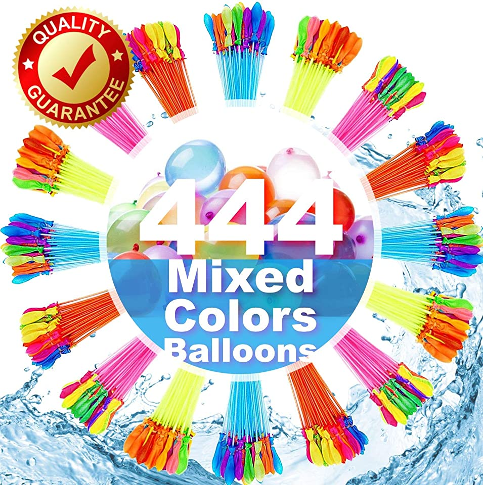 FEECHAGIER Water Balloons for Kids Girls Boys Balloons Set Party Games Quick Fill 444 Balloons for Swimming Pool Outdoor Summer Funs AZ7s