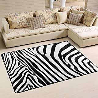 COOSUN Alfombra antideslizante con patrón de cebra para salón, dormitorio, 91,4 x 61 cm