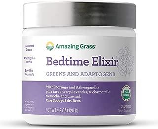 Organic Bedtime Elixir, by Amazing Grass, with Chamomile, Lavendar, Moringa and Ashwaghanda, USDA Organic, Non GMO, 20 Servings Tub