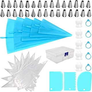 Piping Bags and Tips Set, HUAFA 68pcs Cake Decorating Tools, 5pcs Reusable Silicone Pastry Bags, 30 Stainless Nozzles, 20p...
