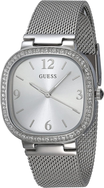 GUESS Reloj de cuarzo para mujer con correa de acero inoxidable, plateado, 15 (Modelo: GW0354L1)