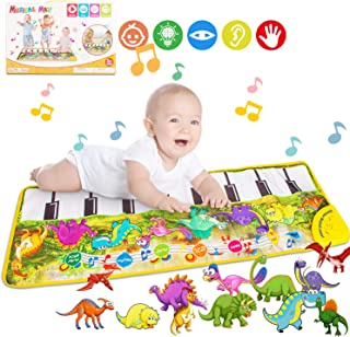 $21 » Piano Mat, Tencoz Musical Piano Mat with 8 Dinosaurs Sounds Portable Electronic Educational Musical Blanket Dinosaur Toys Gifts for Kids Toddler Girls Boys