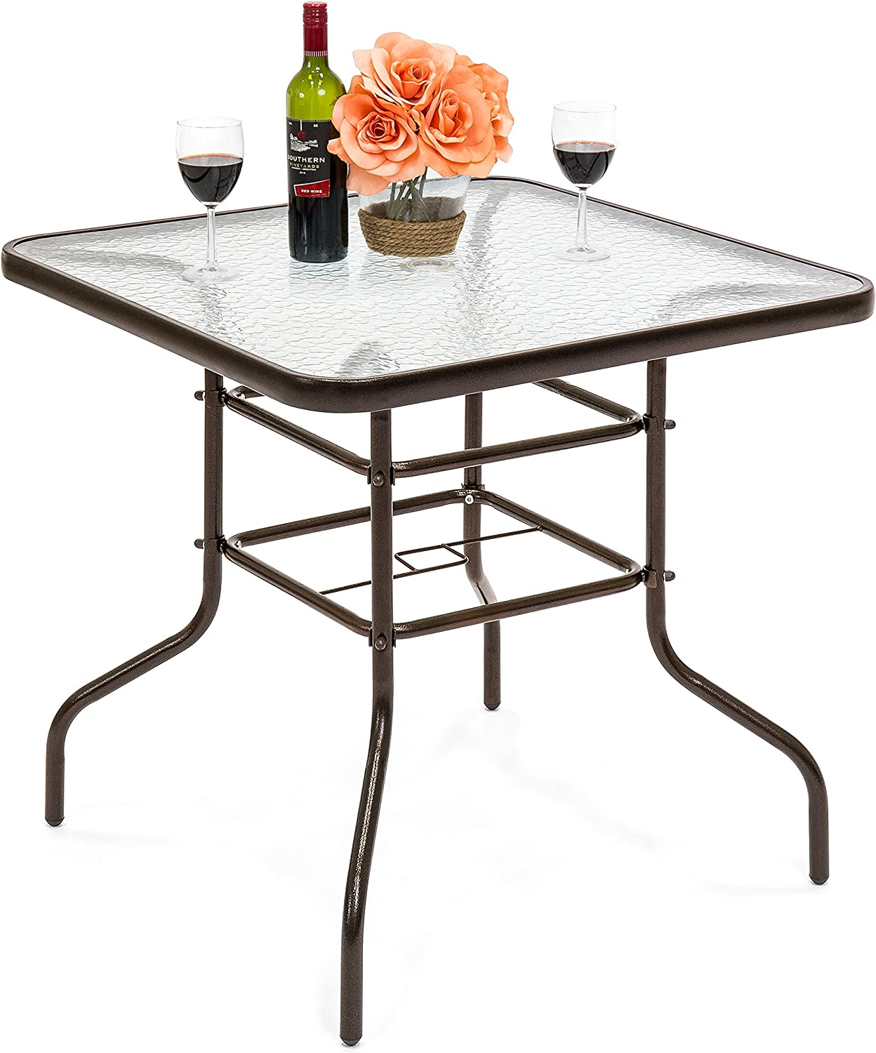 Best Choice Products 32in Square Tempered Glass Outdoor Patio Dining Bistro Table w/Umbrella Hole, Steel Frame, Easy Assembly : Patio, Lawn & Garden