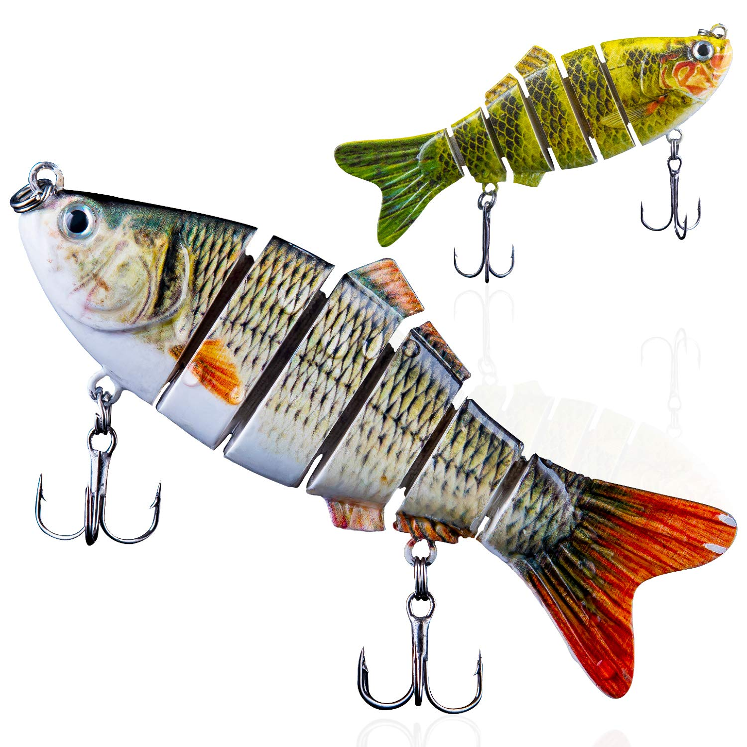 Multi-Jointed Hard Fishing Lure Bait Swimbait Bass Pike Minnow Hook Tackle