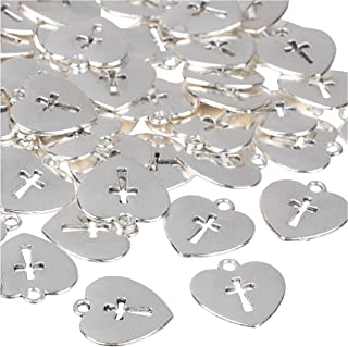 Cross Charms - 75-Piece Religious Charms, Antique Pendants, Alloy Charms, Perfect for Accessories Keychains Bracelets Necklaces DIY, Jewelry Making, Craft, Silver Heart with Cross, 0.67 x 0.63 Inches