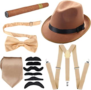 1920s Mens Accessories Hard Felt Panama Hat, Y-Back Suspenders & Pre Tied Bow Tie, Tie,Toy Cigar & Fake Mustache