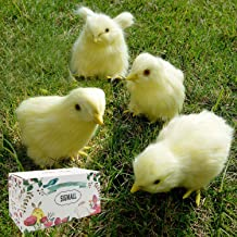 4 pcs Spring Easter Chick Decor - Realistic Eat Fly Yellow Baby Chick Lifelike Furry Chicken Figurine Rabbit Fur Plush Animal Toy Easter Holiday Decoration Prop Photography (Eatting + Standing)