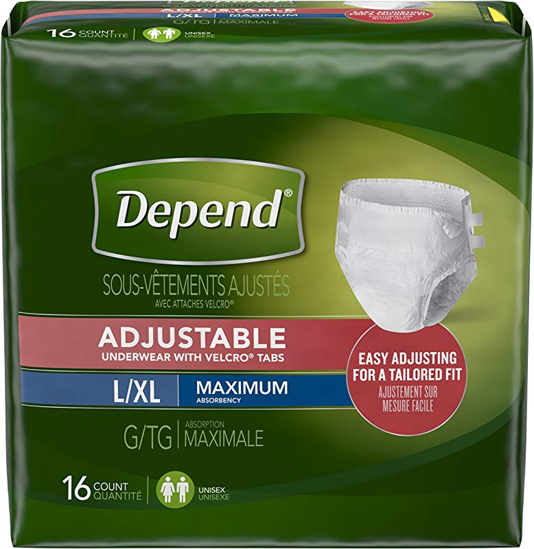 Depend Adjustable Incontinence Underwear Maximum Absorbency L XL 16 Count Pack Of 2