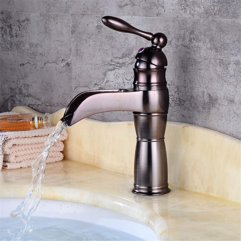 Bijjaladeva Wasserhahn Bad Wasserfall Mischbatterie Waschbecken Armatur für Antike Badezimmer Waschtisch Waschbecken Waschtisch Armatur Wasserfall abgesenkt Waschbecken Waschtisch