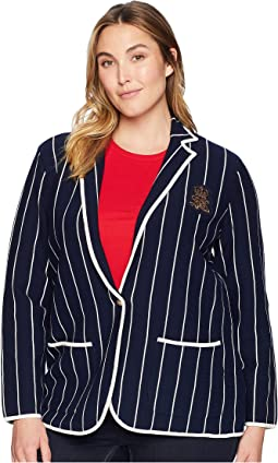 Plus Size Bullion-Patch Striped Blazer