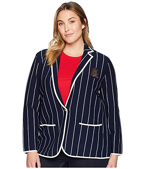 d66d6572b1900 LAUREN Ralph Lauren Plus Size Bullion-Patch Striped Blazer at 6pm