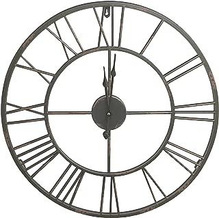 Round Decorative Metal Distressed Iron Roman Numeral Clock Quartz Movement 16 x 16 x 1 Inches...0111