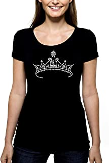 Crown RHINESTONE T-Shirt Shirt Tee Bling - Pick Rhinestone Color - Princess Queen Diva Royalty birthday girl woman - Pick Shirt Style - Scoop Neck V-Neck Crew Neck
