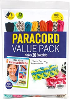 Paracord Value Pack | Crafting | 10 Hanks of Paracord - 180 Ft total of Paracord, 20 Buckles, 1 Paracord Crafts Pattern Book - Paracord Kit Makes 20 Paracord Bracelets | Leisure Arts