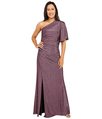 Adrianna Papell Plus Size One Shoulder Metallic Knit Side Draped Mermaid Gown (Amethyst) Women