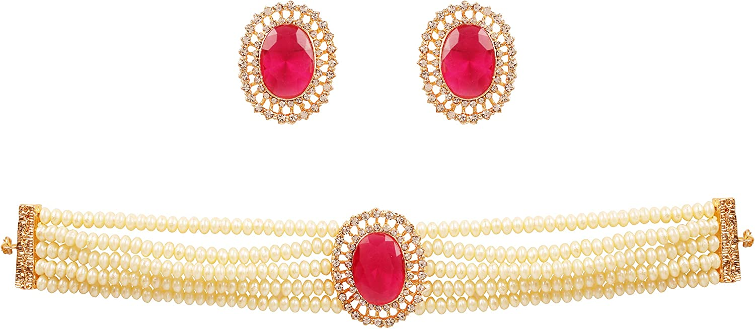 Touchstone Indian Bollywood Traditional Rhinestone Kundan Polki Faux Pearls Colorful Beads Strings Designer Jewelry Choker Necklace Set in Antique and Gold Tone for Women.