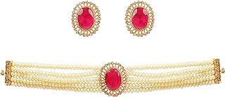 NEW! Touchstone Indian Bollywood Princess Diana Fine Studded Diamond Look White Rhinestone Pearls Designer Jewelry Choker ...