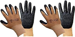 SAFEYURA ® Reusable Rubber Coated Garden Dry Work Gloves, Brown/Black, 2 Pairs