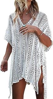 c09afb7335 shermie Women's V-Neck Plus Size Short Loose Knitted Beach Dresses Summer  Swimsuit Bikini Beach