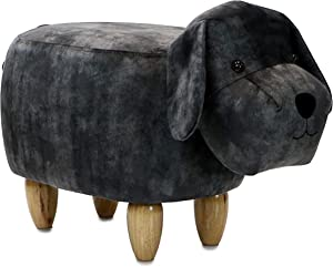 """Critter Sitters Dark Gray 14"""" Seat Height Animal Dog-Super Soft Plush-Durable Legs-Furniture for Nursery, Bedroom, Playroom & Living Room-Décor Ottoman"""