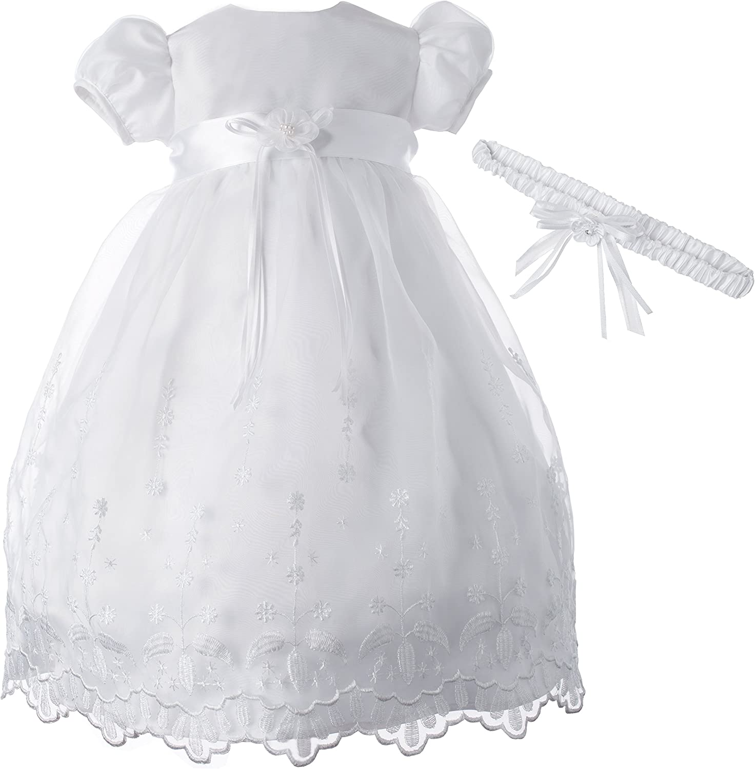 Lauren Madison Baby-Girls Newborn Satin Floral Embroidered Dress Gown Outfit