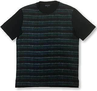 Paris silk T-shirt in black and turquoise design