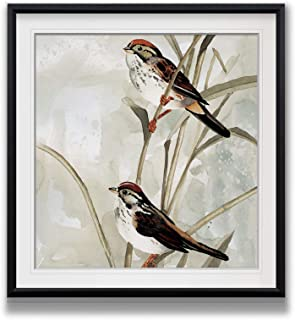 Renditions Gallery PF027-19482-1616BF Neutral Spring II Birds Art Framed Scenic Pictures Landscape Painting Giclee Canvas Prints Animal Wall Decor, 16X16, Black