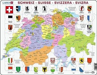 Larsen K43 Carte Politique de la Suisse, édition Multilingue (Allemand/Français/Italien), Puzzle Cadre avec de 70 pièces