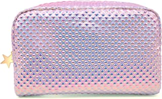 Cosmetic Bag Makeup Bag Toiletry Travel Bag Handy Holographic Bag Large Protable Wash Pouch Waterproof Zipper Handbag Carry Case Organizer (shiny pink bag)
