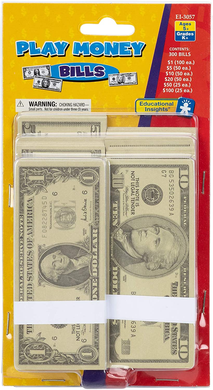 Educational Insights Play Money - Set of 300 Bills for Currency, Counting Skills & Pretend Play, Ages 5+