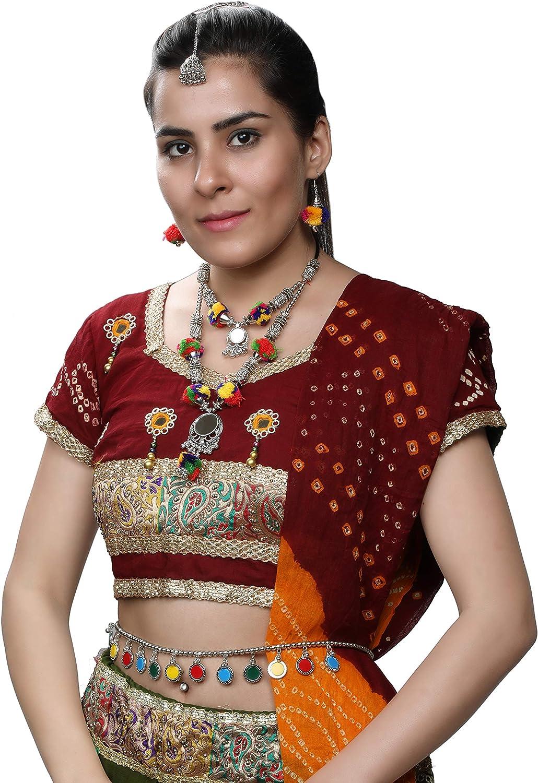 DEVIKA s CHOICE Range of Navratri and Valentine's Gift Ethnic Gujarati Indian Jewelry Necklace Sets with Earrings, Payals,Kamarpatta,Bindi for Women (Set 7, 1 Haar set Kamarpatta Tikka (3 items))