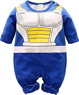 Beal Shopping Cosplay Long Sleeve Baby Boy and Girls Vegeta Rompers Costume Jumpsuit Baby Clothes, Blue2, 3-6 Monthes