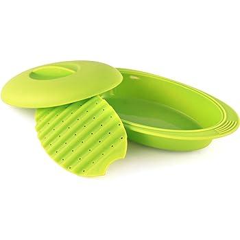 Estuche de vapor de silicona para microondas u horno de 28 cm | Papillote de cocina verde | Franquihogar: Amazon.es: Hogar