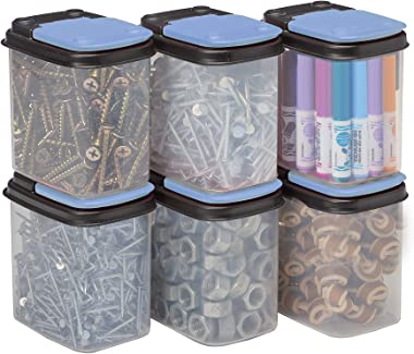 Buddeez Bits and Bolts Storage Containers with Blue Lids , 8 Pack