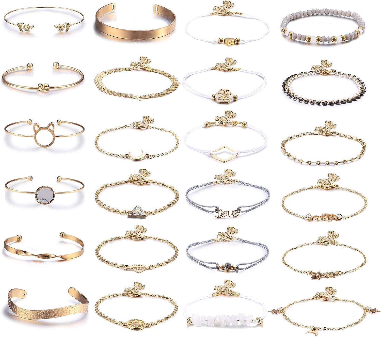HANPABUM Layered Bracelet Set Assorted Beaded Bracelet Multiple Charm Pendent Stackable Wrap Bangle Jewelry Rose Quartz Bracelet Links Adjustable Friendship Gift