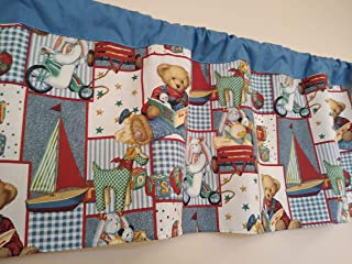 Blue Jean teddy Bear Patchwork fabric. Baby Boy Nursery. Unisex. Window treatment decor. Toddlers