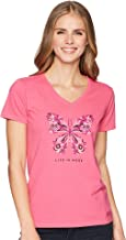 Life is Good Womens Wildflower Butterfly Crusher Vee