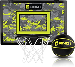 """AND1 Indoor Basketball Hoop- 18""""x12"""" Mini Basketball Hoop- Over the Door, Portable, & Easy to Install- Game Set for Children & Adults"""