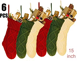 NIGHT-GRING 6 PCS 15'' Knit Christmas Stockings Woven Stockings Christmas Decorations White/Red/Green