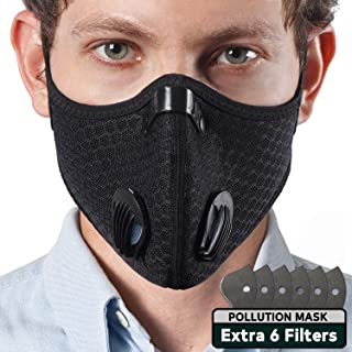 EJG Pollution Masks, 6 Extra Filters With Activated Carbon, No Fogging With Two Built-In Valves, For All Face Shapes, Dust Mask for Exhaust Gas, PM2.5, Running, Cycling, Outdoor Activities, Travelers
