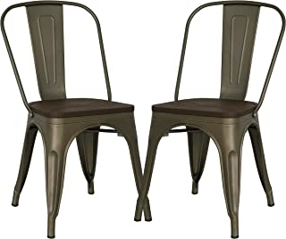 Poly and Bark Trattoria Kitchen and Dining Metal Side Chair with Elm Wood Seat in Bronze (Set of 2)