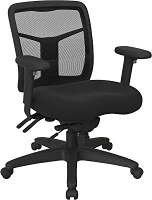 Office Star ProGrid Mid Back Manager's with Adjustable Height, Multi-Function Tilt Control and Seat Slider, Icon Black Fabric