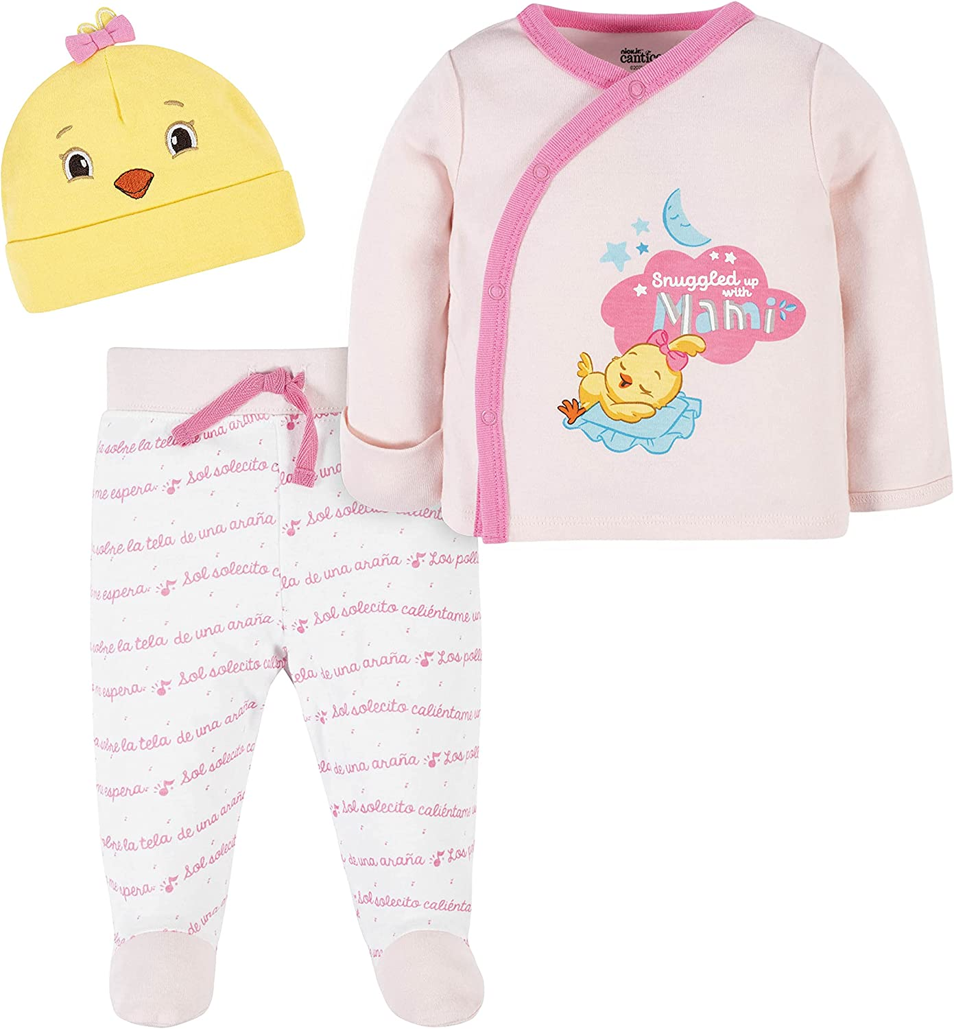 Canticos baby-girls 3-piece Take-me-home Shirt, Footed Pant, and Cap Set
